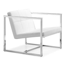 Sillón de diseño NORTON, similpiel blanca