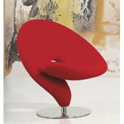 Sillón EGO de diseño tapizado tejido rojo