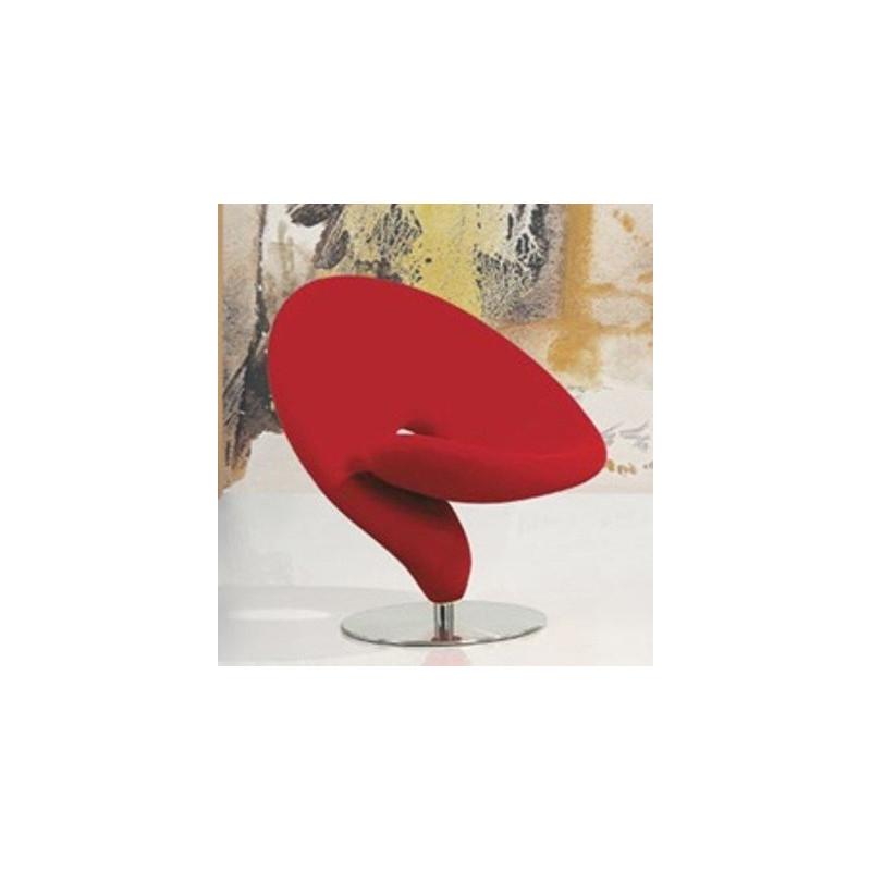 silln ego de diseo tapizado tejido rojo - Sillones Diseo