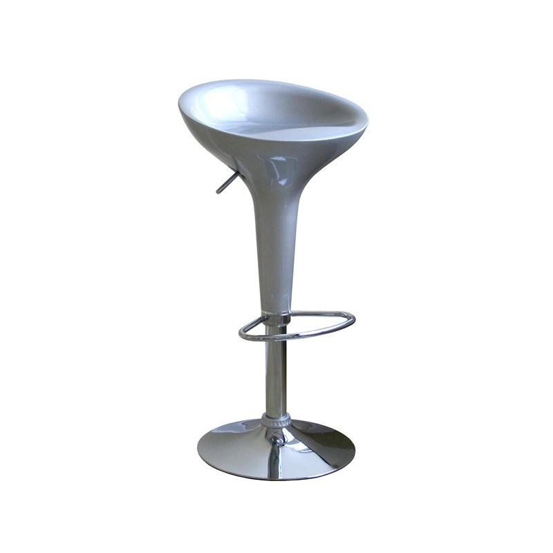 Taburete de diseño en abs inyectado color plata