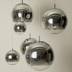 Lámpara LEO colgante, cristal, cromado - transparente