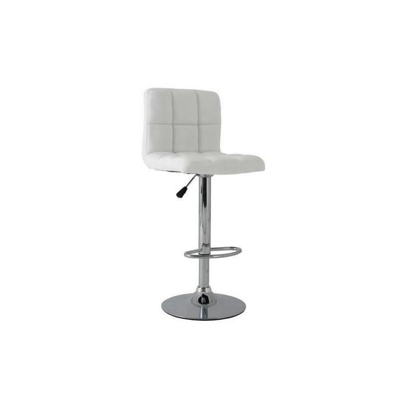 Taburete MIAMI de diseño con respaldo tapizado similpiel blanca