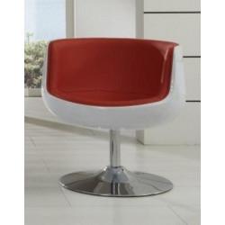 Sillón ALESUND fabricado en fibra de vidrio blanca y tapizado rojo