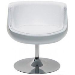 Sillón ALESUND fabricado en fibra de vidrio blanca y tapizado blanco