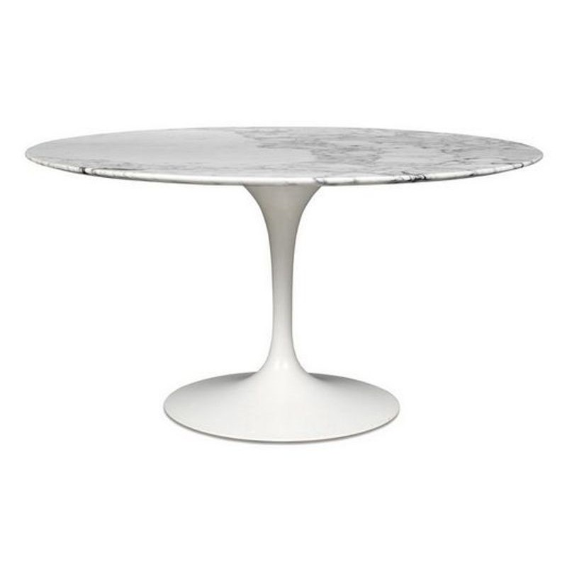 Mesa Tulip con base de aluminio y tapa mármol blanco de 120 cms