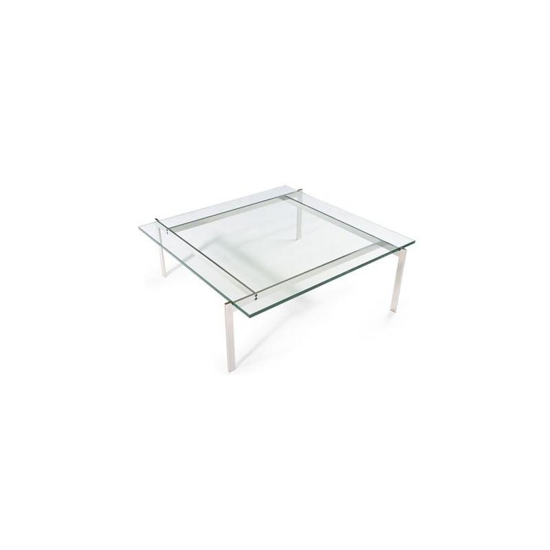 Mesa baja de diseño fabricada en acero inoxidable y cristal