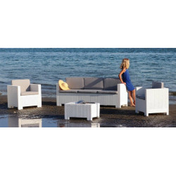 Conjunto ACACIA de poliratán 2 sillones, 1 sofá y 1 mesa, poliratán chocolate, blanco o antracita
