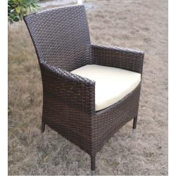 Conjunto de jardín 4 sillones + mesa fabricados en aluminio y ratán color chocolate