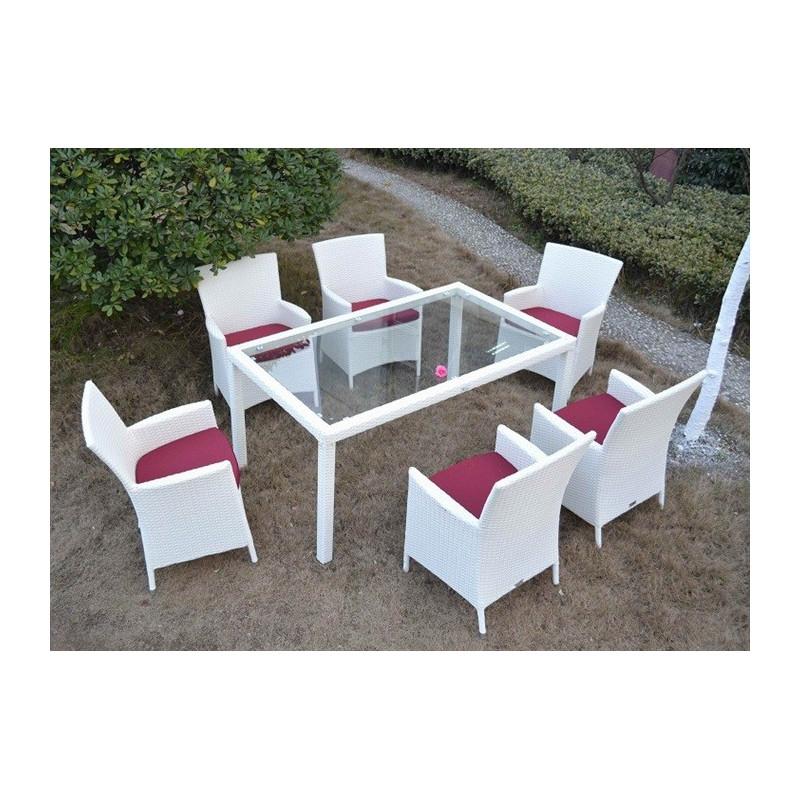 Conjunto de jardín 6 Sillones + Mesa fabricado en aluminio y ratán