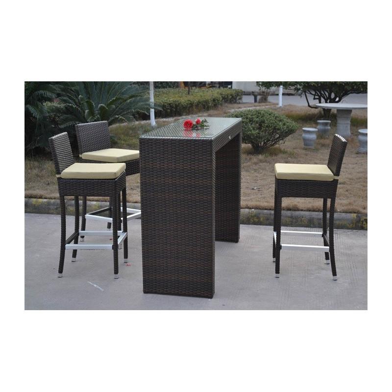 Conjunto de muebles de rat n sint tico color chocolate formado por una mesa alta y tres taburetes - Muebles de rattan sintetico ...