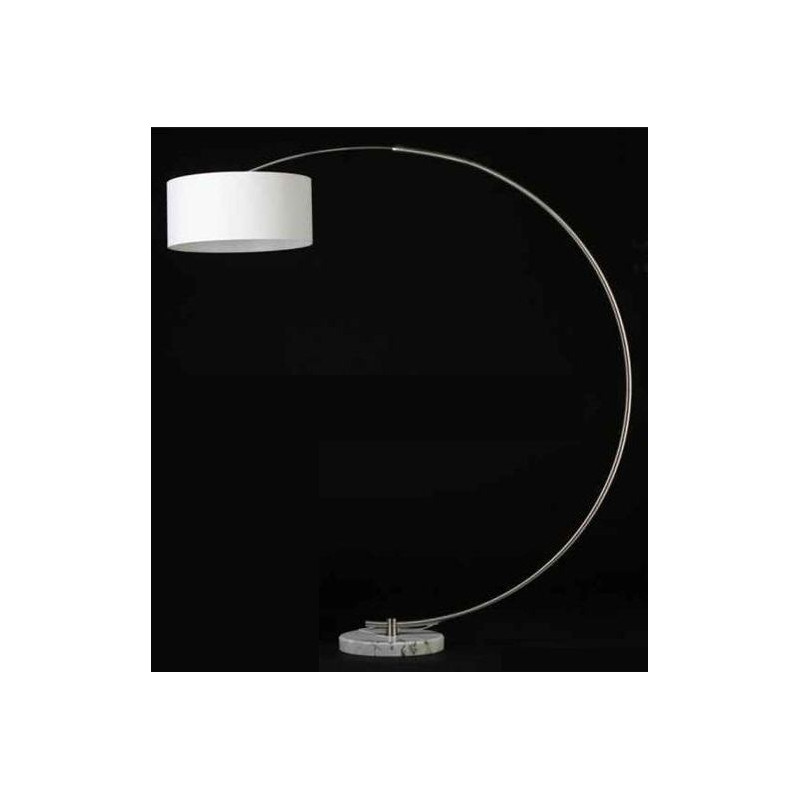 Lámpara DIAL de pié cromada con base de mármol blanco y pantalla negra o roja