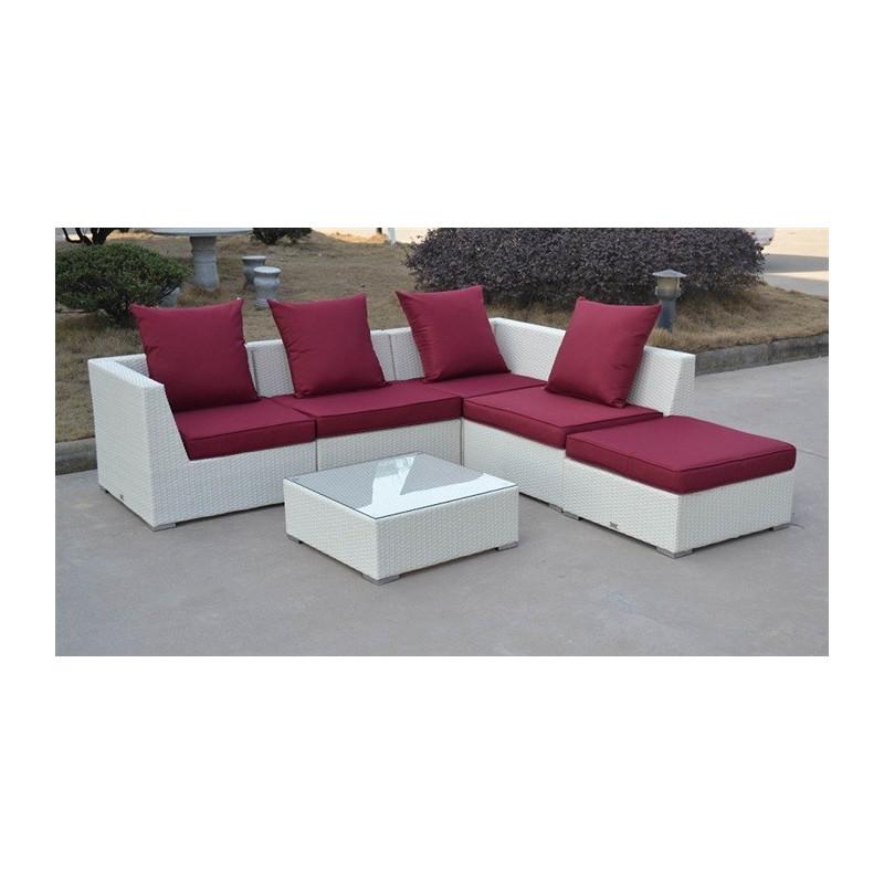 Conjunto de jardín formado por 4 módulos, ottoman y mesa baja fabricados en aluminio y poliratán blanco hueso