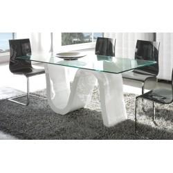 Mesa de diseño fabricada en cristal de 12 mm de espesor y pie lacado en blanco