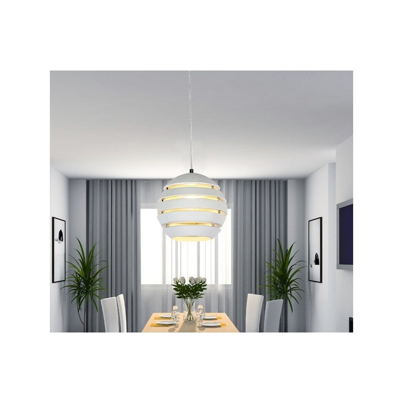 Lámpara de colgar con forma de bola y acabado en blanco