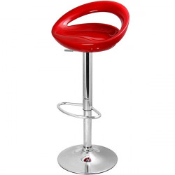 Taburete FLIT de diseño cromado fabricado en abs rojo