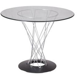 Mesa de diseño con tapa de cristal transparente de 120 cms
