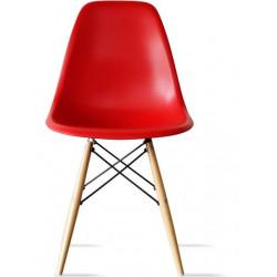 Silla TOWER-W fabricada en ABS color rojo y patas de madera