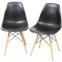 Silla TOWER-W fabricada en ABS color negro y patas de madera