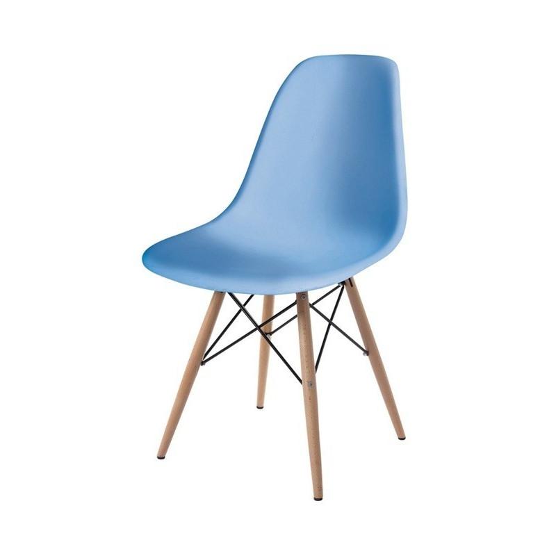 Silla TOWER-W fabricada en ABS color azul celeste y patas de madera