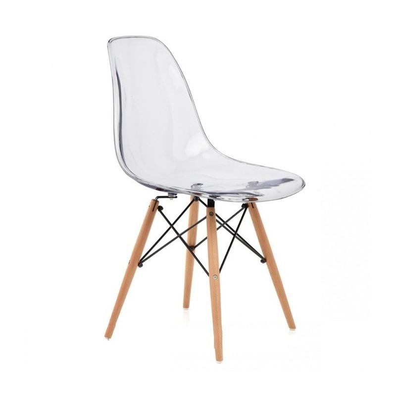 Silla tower w fabricada en policarbonato transparente y patas de madera - Sillas en policarbonato ...