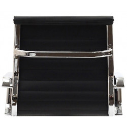 Sillón KANSAS-G de dirección tapizado en similpiel negra y respaldo medio
