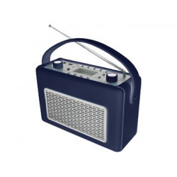 Radio AM/FM con USB recubierta de polipiel color azul