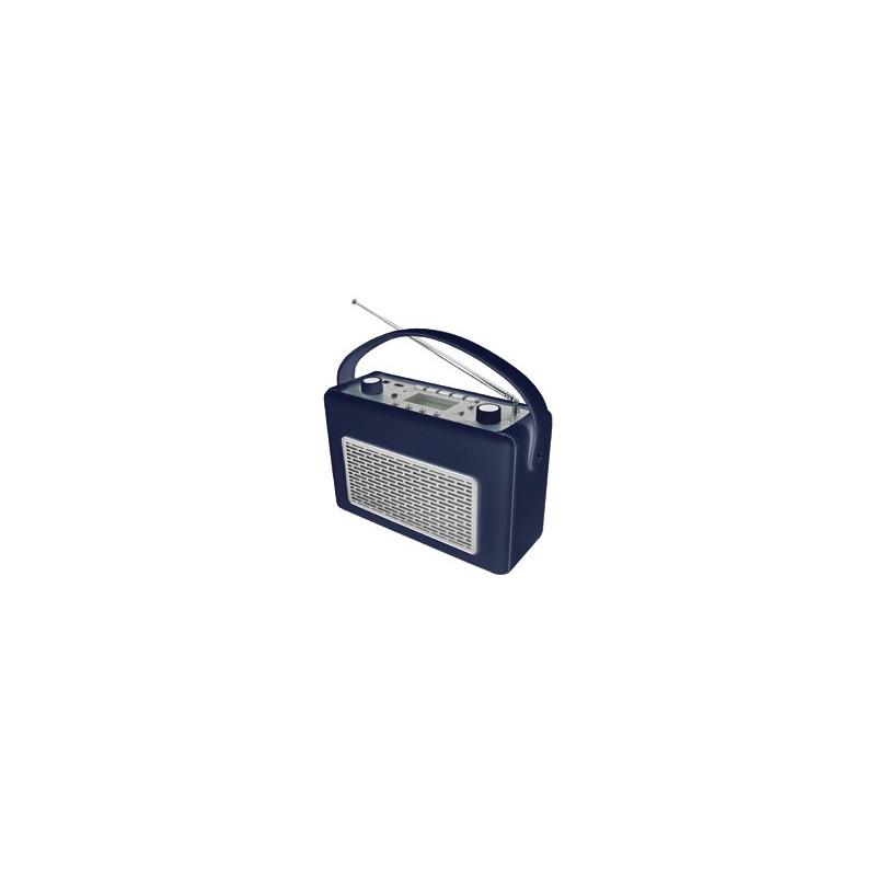 Radio AM/FM con USB recubierta de polipiel color azul