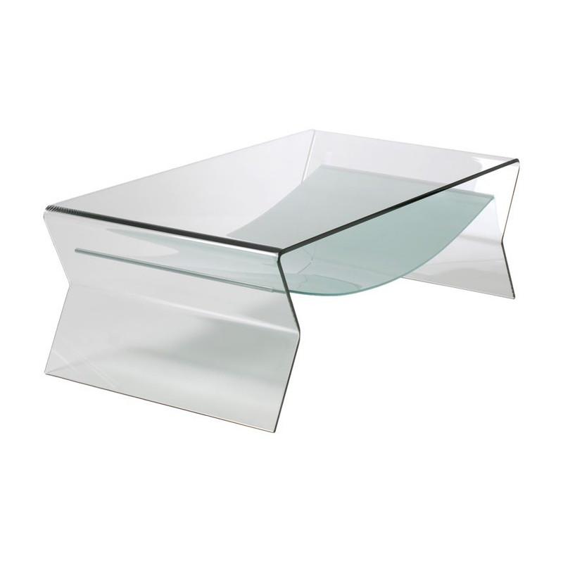 Mesa IRIS baja rectangular con cristal curvado 120x65 cms
