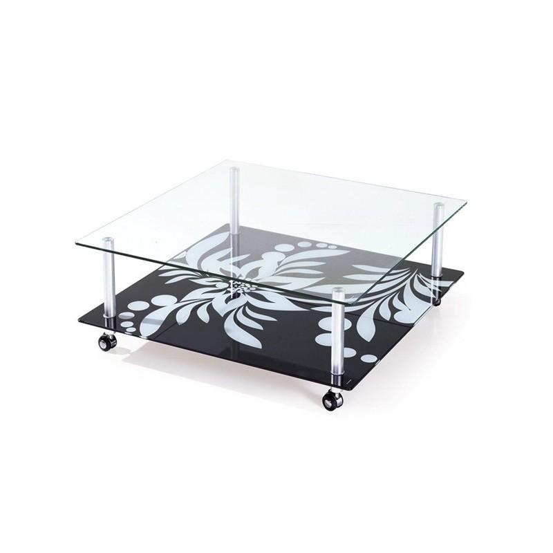 Mesa DURCAL baja fabricada en aluminio y cristal 100 x 100 cms