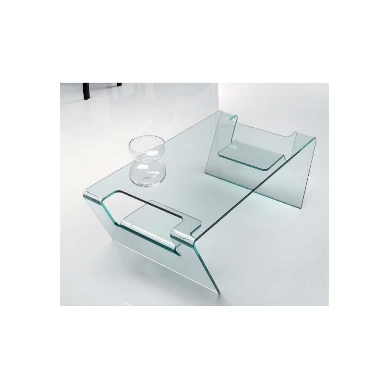 Mesa BERING baja rectangular con cristal curvado 110x65 cms