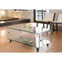 Mesa MELBOURNE baja rectangular fabricada en cristal curvado 120x60 cms