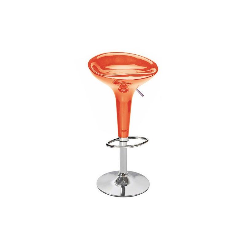 Taburete de diseño en abs inyectado color naranja