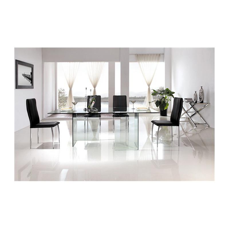 Mesa EVORA, diseño, cristal curvado 150x80 cms