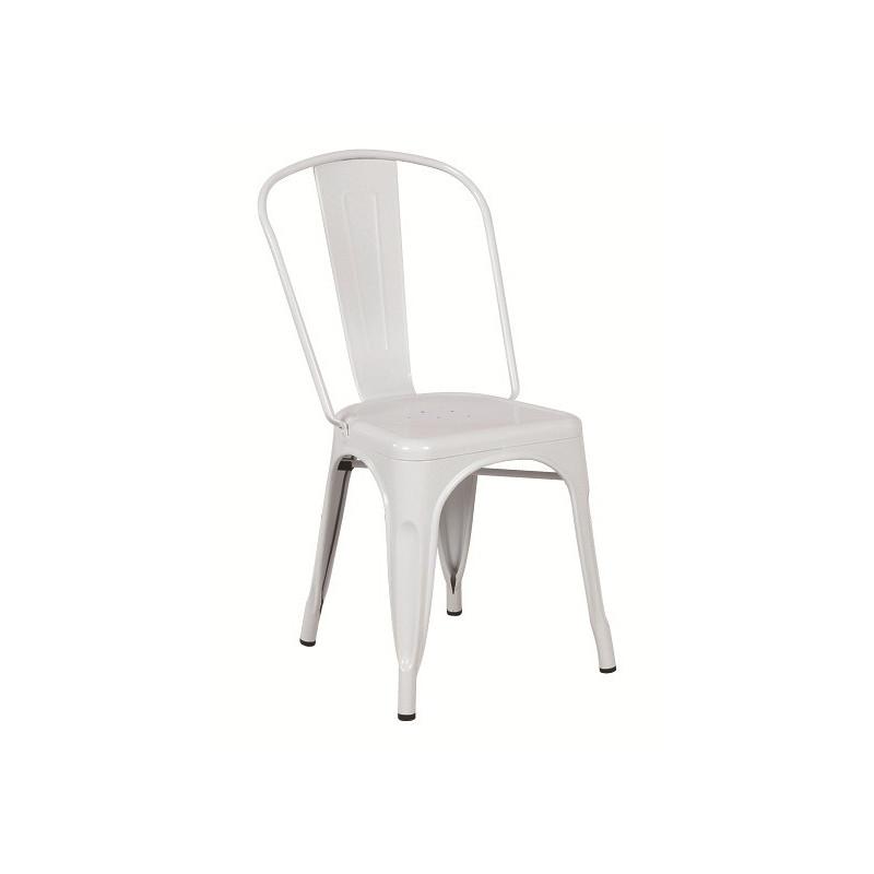 Silla TOL de acero color blanco