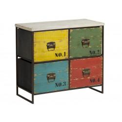 Mueble auxiliar de estilo vintage con 4 cajones