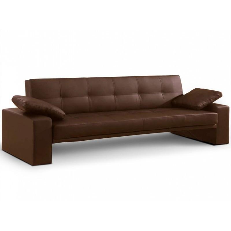 Sofá cama  en simil cuero marron