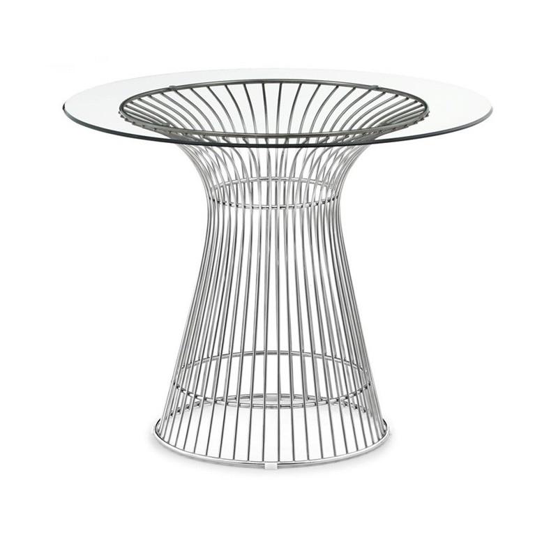 Mesa de diseño Wire con tapa de cristal transparente de 80 cms