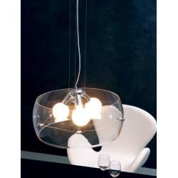 Lámpara TITAN colgante de diseño con pantalla de cristal transparente