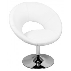 Sillón ANVERS diseño, cromado, tapizado similpiel blanca