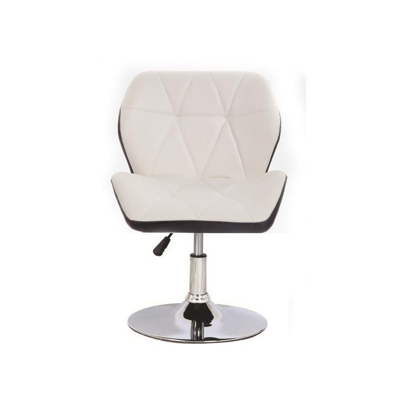 Silla ORLANDO diseño, cromado, tapizado similpiel blanca