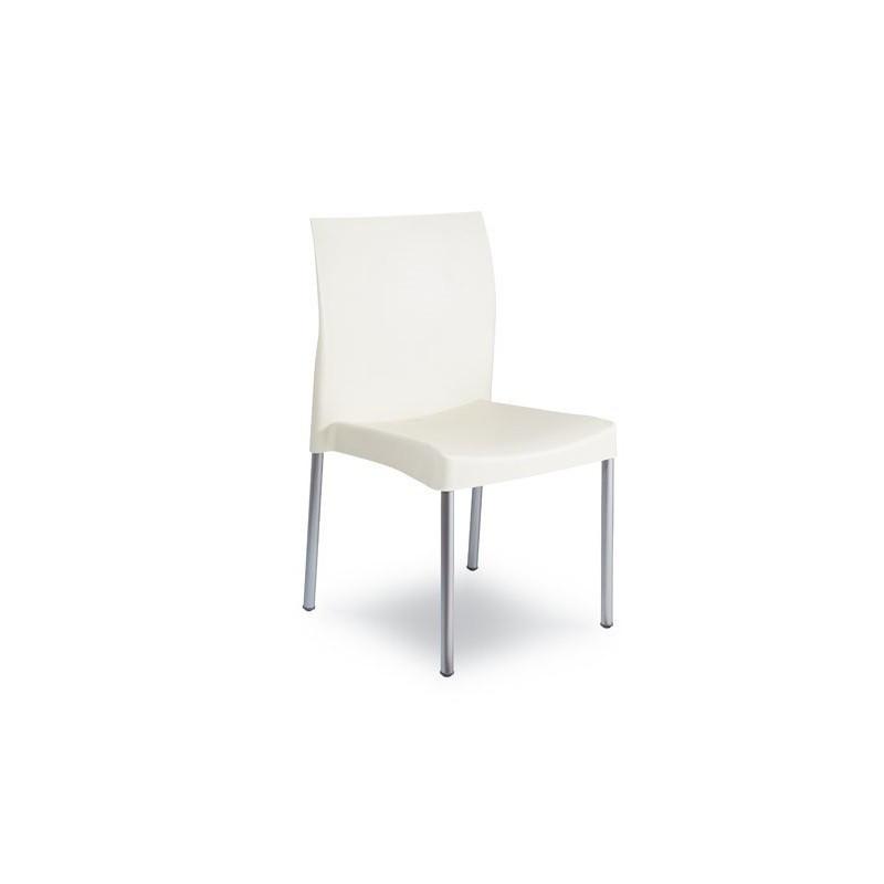 Silla SANDRA de diseño, apilable y multiusos en polipropileno blanco.