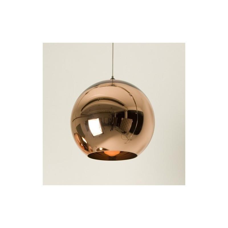 Lámpara HUGO colgante de cristal cobre