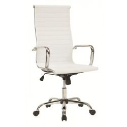 Sillón de oficina BARI-A  basculante similpiel blanca