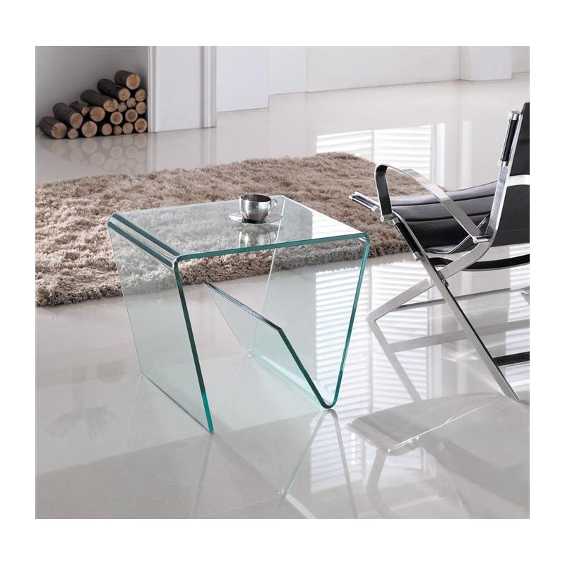 Mesa baja Hola  de cristal templado y curvado con revistero