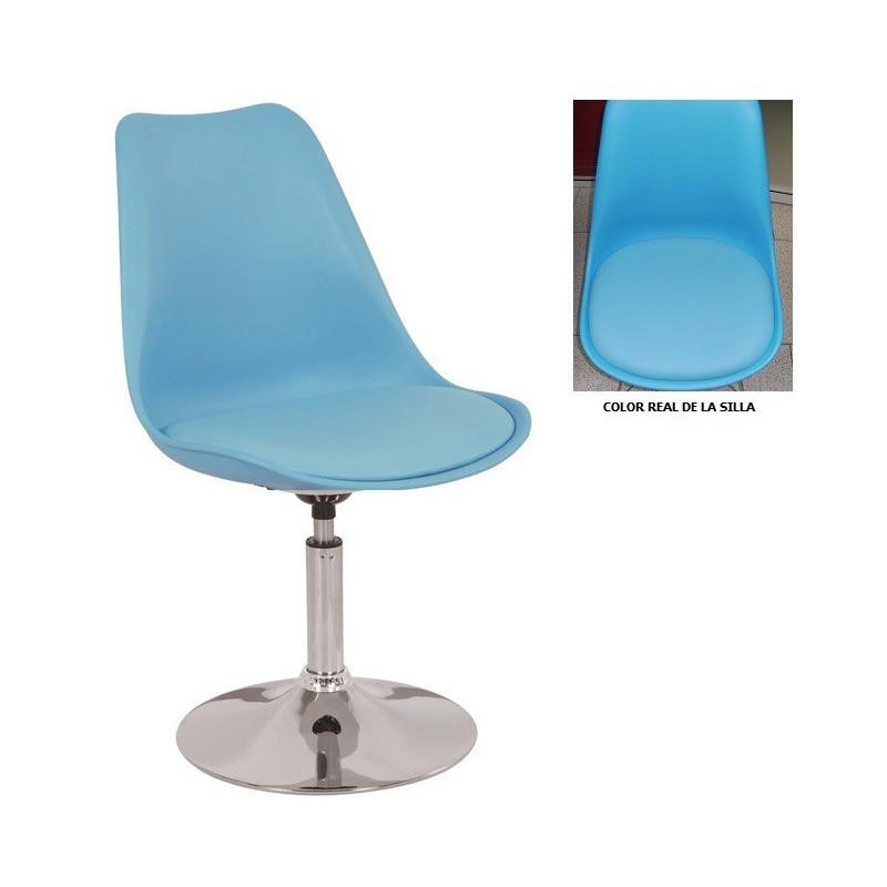 Silla TOW pie cromado y asiento de polipropileno color azul