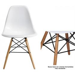 Silla TORREIFFEL-AC, patas de madera, ABS color blanco