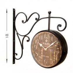 Reloj estación con esfera horaria doble