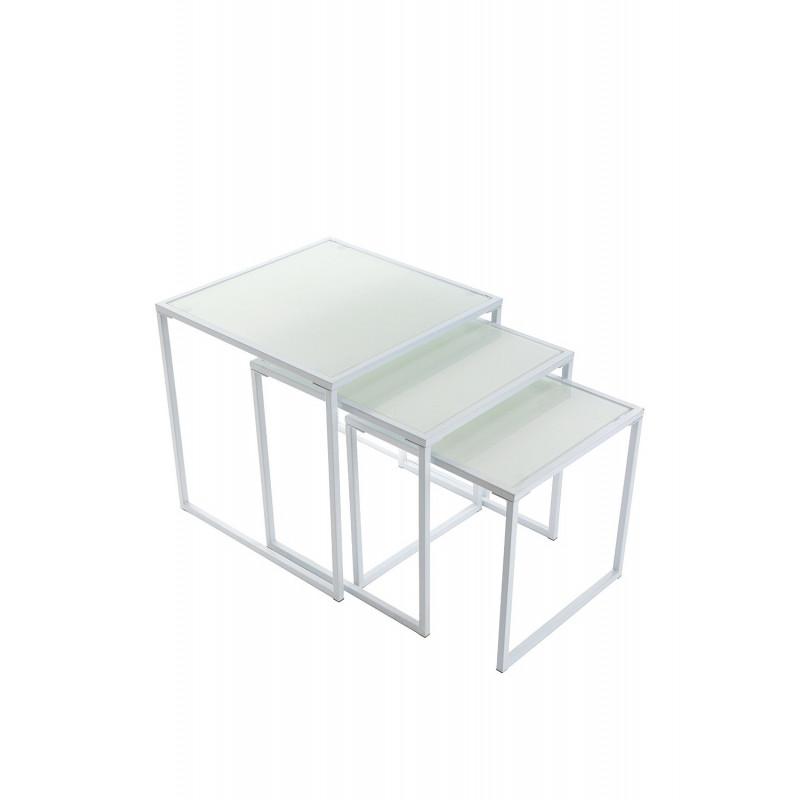 Mesas nido auxiliares blancas con cristal templado - Mesas auxiliares cristal ...