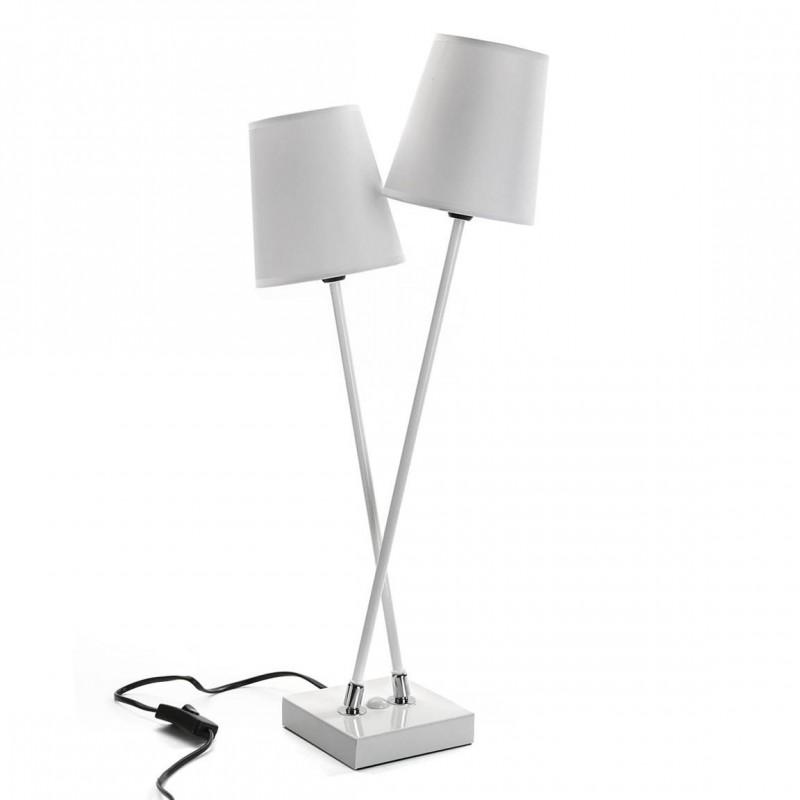 Lámpara de mesa de diseño con dos pantallas blancas