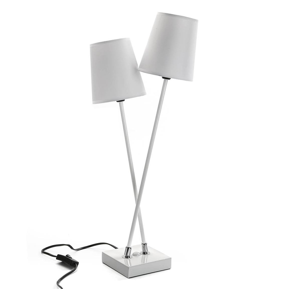 Con Blancas De Pantallas Diseño Lámpara Dos Mesa wmN0vO8n